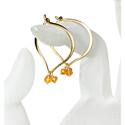 Carnelian Gold Hoops, Gemstone Lotus Vermeil Earrings