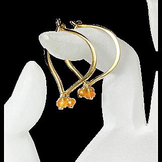 Carnelian Gold Hoops, Gemstone Lotus Vermeil Earrings