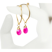 Pink Chalcedony Gold Hoops, Vermeil Gemstone Briolette Earrings