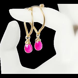 Pink Chalcedony Gold Hoops, Vermeil Gemstone Briolette Earrings