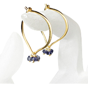 Medium Iolite Hoop Earrings, Gemstone Lotus Vermeil Ear Wires