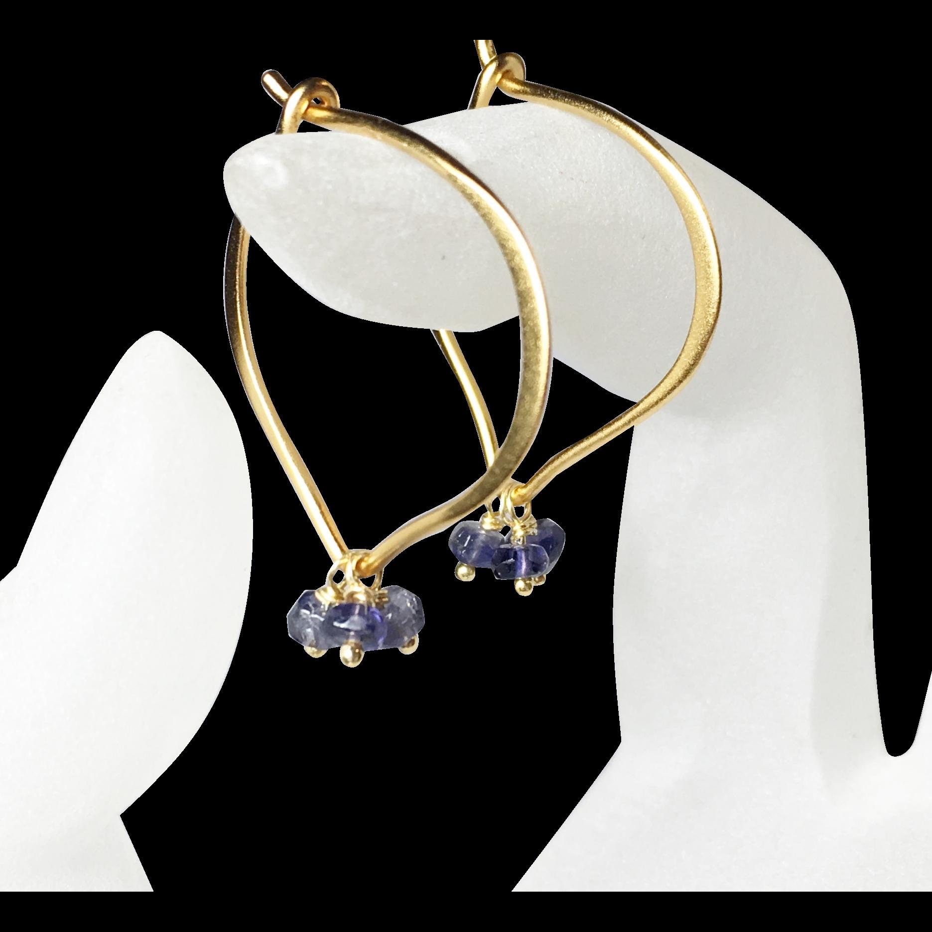 Medium Iolite Hoop Earrings, Gemstone Lotus Vermeil Ear Wires