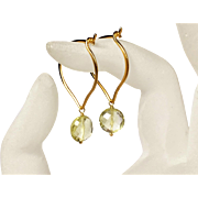 Medium Gold Hoops, Lemon Quartz 24K Gold Vermeil Lotus Earrings