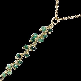 Emerald Tassel Pendant in Gold, Elegant Genuine Gemstone Necklace