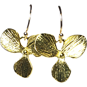 Gold Flower Drop Earrings, Gold Plated