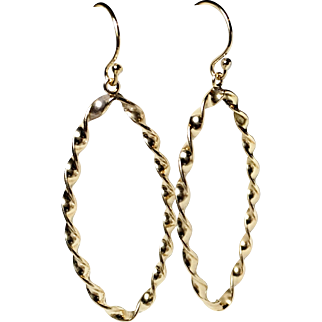 Large Marquise Hoops, Gold Fill, Twisted Texture Earrings