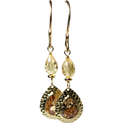 Citrine Gemstone Glass Gold Dangle Earrings