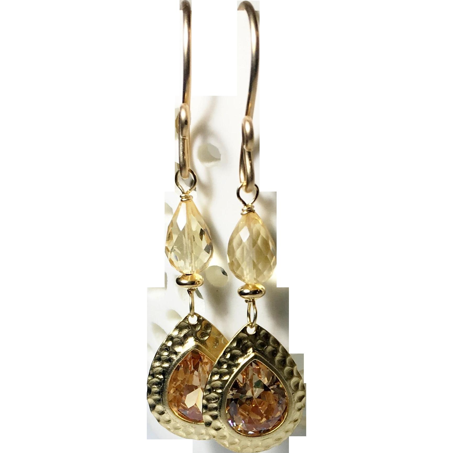 Citrine Gemstone Glass Gold Dangle Earrings