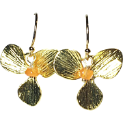 Carnelian Gold Flower Drop Earrings