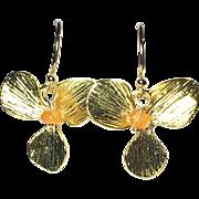 Carnelian Gold Flower Drop Earrings
