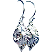 Sterling Silver Leaf Drop Earrings, Fall Accessory