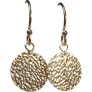Tiny Gold Disc Earrings, Gold Fill, Textured