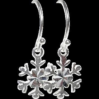 Snowflake Earrings Sterling Silver Petite Charm Drops