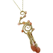 Sunstone Sculptured Wire Wrapped Pendant Necklace