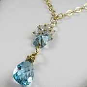 Sky Blue Topaz Moonstone Gold Filled Necklace