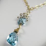 Sky Blue Topaz Moonstone Gold Filled Necklace