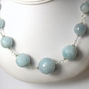 Natural Aquamarine Gemstone Sterling Hand Linked Necklace