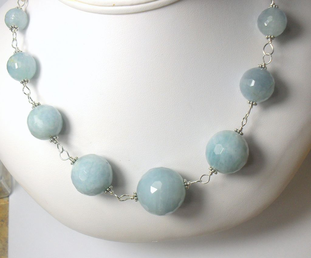 Natural Aquamarine Gemstone Sterling Hand Linked Necklace