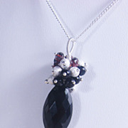 Black Gemstone Pendant Necklace with Spinel Garnet Onyx and Stardust - Sterling