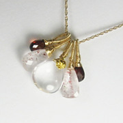 Lepidocrosite Quartz Garnet Gemstone 18K Gold Filled Necklace