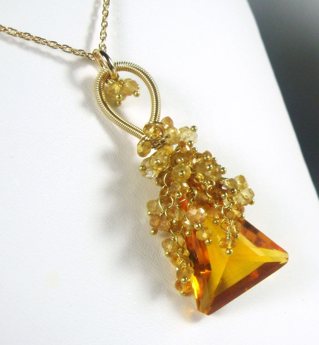 Madeira Quartz Citrine Tendrils Cluster Gold Necklace