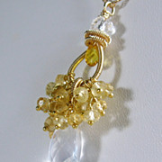 50% OFF SALE Gemstone Cluster Pendant - Citrine Quartz Gold filled Necklace