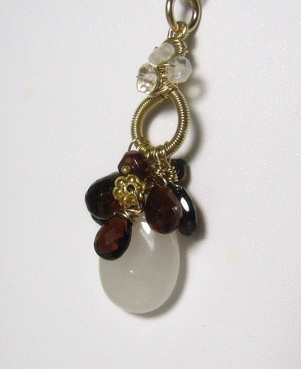 White Jade Hessonite Gemstone 18K Gold filled Necklace