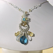 Blue Quartz Citrine Moonstone Apatite Sculptured Pendant Necklace