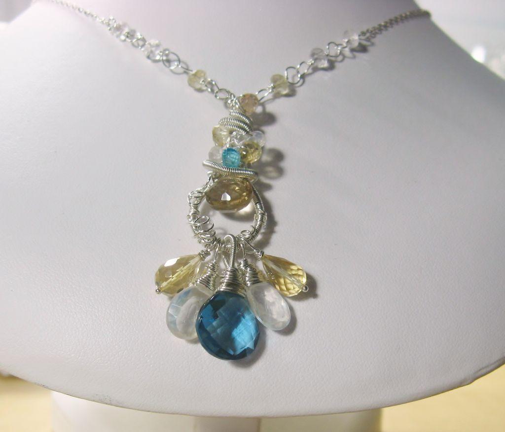 Blue Quartz Citrine Moonstone Apatite Sculptured Pendant Necklace