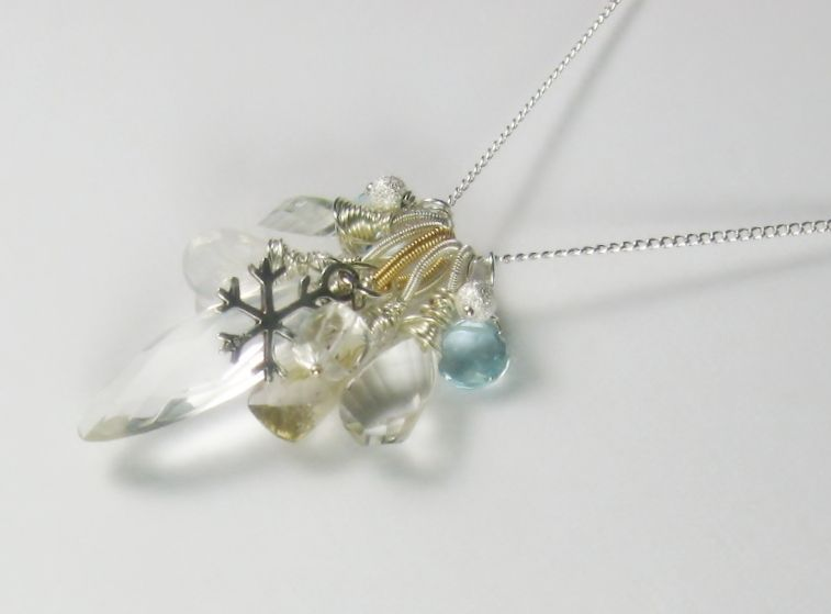 Snowflakes and Icicles Gemstone Cluster Pendant