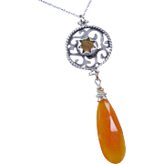 Fanta Orange Chalcedony Fretworked Gemstone Pendant