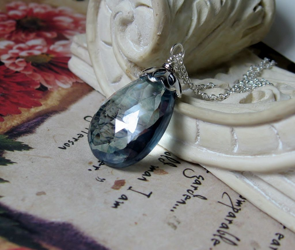 Sale 33Ctw Slate Blue Quartz Sterling Pendant Necklace
