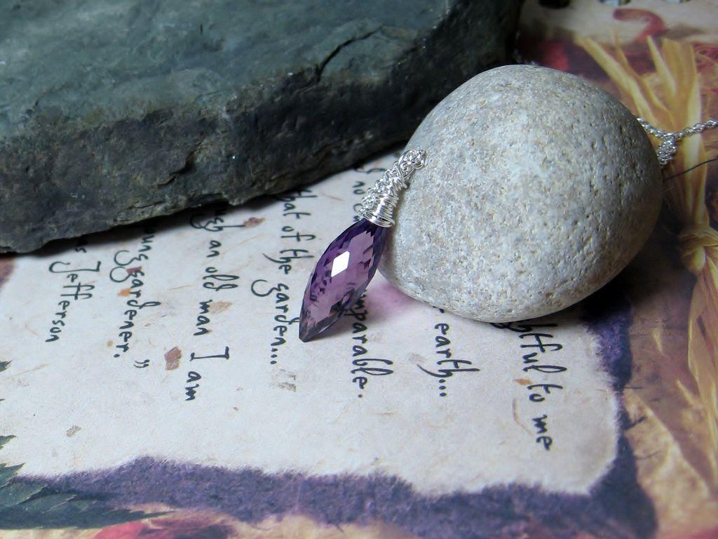 Kunzite Quartz Gemstone Sterling Pendant Necklace