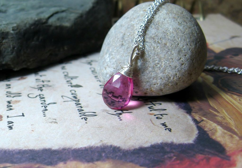 Pink Quartz Gemstone Sterling Pendant