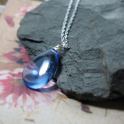 Ocean Blue Quartz Sterling Solitaire Necklace