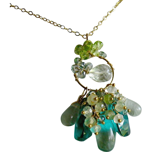 Sea Green Cluster Gemstone Necklace