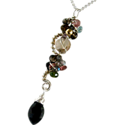 Multi Gemstone Sculptured Pendant, tourmaline,spinel,quartz,citrine,onyx,sterling silver