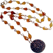Hessonite Gemstone 14K Solid Gold Champagne Quartz Pendant Necklace