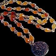 Hessonite Gemstone 14K Solid Gold Champagne Quartz Pendant Necklace
