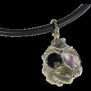 Wire Wrapped Gemstone Pendant, Quartz, Black Spinel, Amethyst, Labradorite
