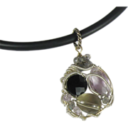 Wire Wrapped Gemstone Pendant, Quartz, Black Spinel, Amethyst, Labradorite