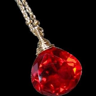 Stunning Red Quartz Gemstone Gold Pendant Necklace