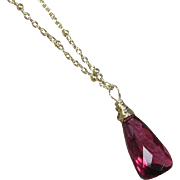 "Red Quartz Solitaire Pendant Gold Filled 20"" Necklace"