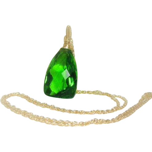 Statement Necklace, Parrot Green Quartz Gold Filled Pendant