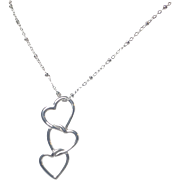 Floating Heart Pendant Necklace, Sterling Silver Linked Hearts