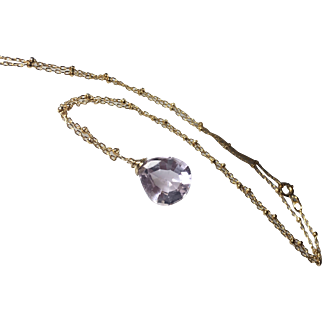 Amethyst Solitaire Gold Fill Pendant