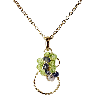Gemstone Pendant in Gold, Peridot, Iolite, Sculpted Necklace