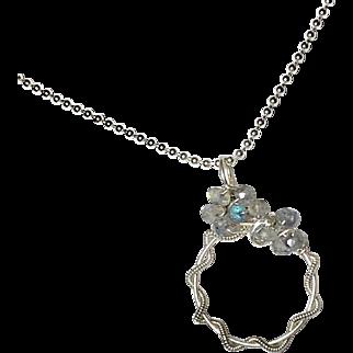 Labradorite Gemstone Pendant, Sculptured Wire Wrapped Necklace