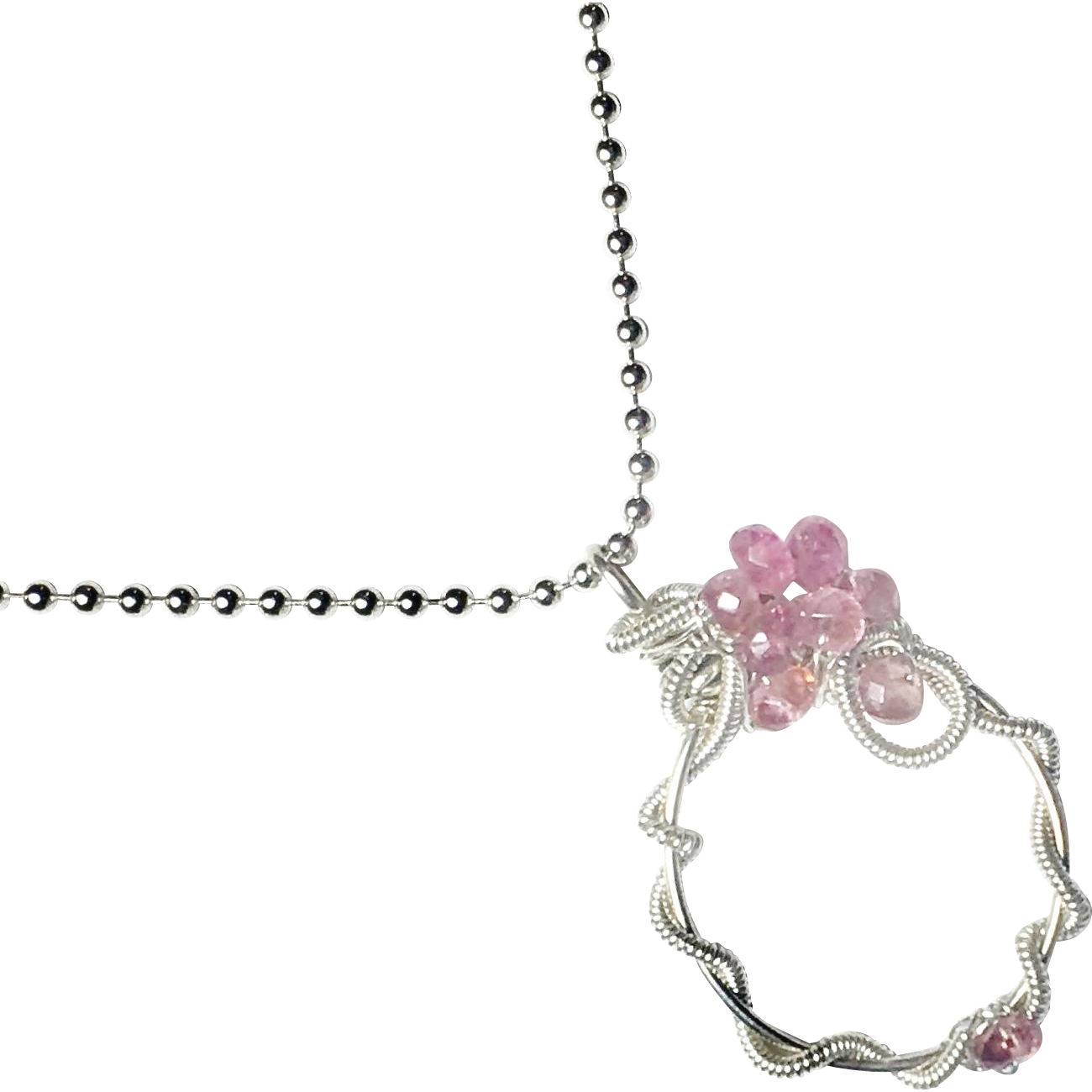 Pink Tourmaline Wire Wrapped Pendant, Sterling Silver Necklace