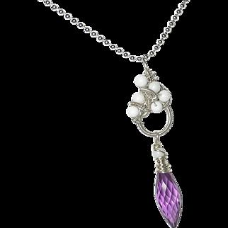 Kunzite Quartz White Jade Sterling Silver Gemstone Pendant